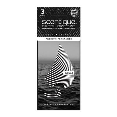 Scentique Fresh Breeze Paper Air Freshener 3 Pack - Black Velvet CASE PACK 8
